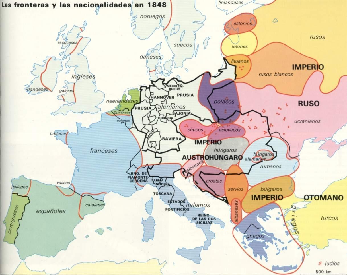 Resultado de imagen de mapa europa en 1848 mudo