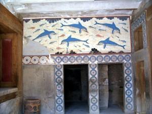 Fresco de los delfines en el Palacio de la Reina. Cnossos