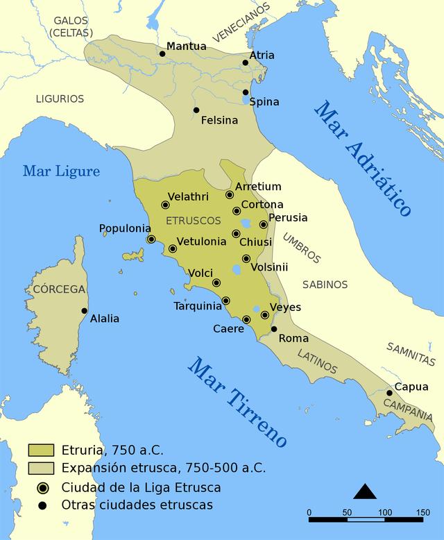 Expansión etrusca. 750 A.C - 500 A.C.